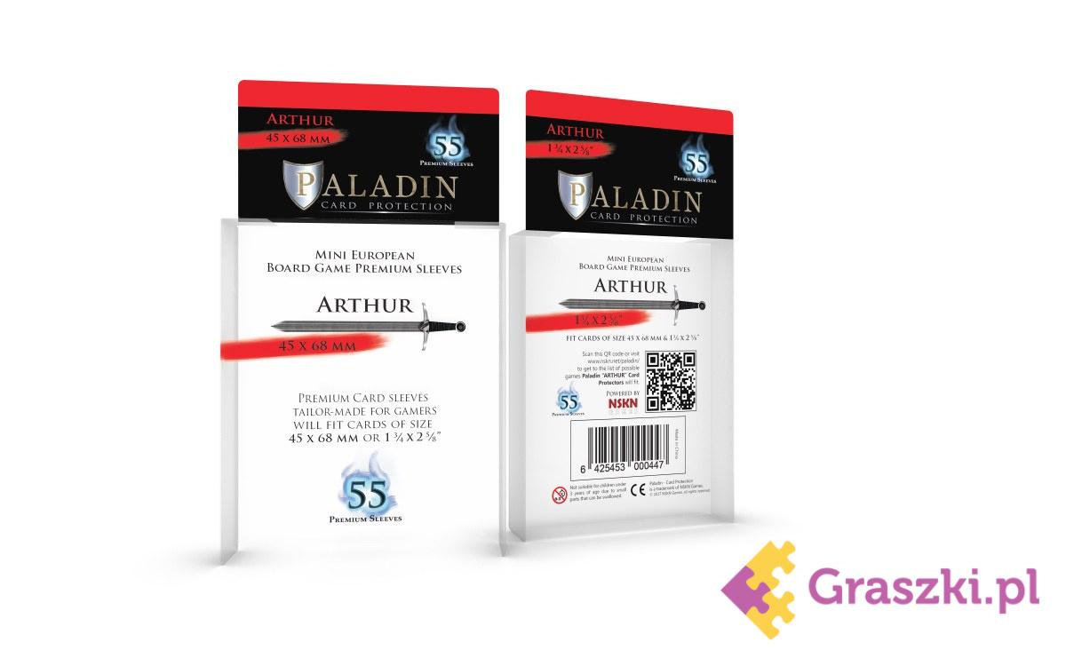 Koszulki na karty Arthur (45x68) Premium Mini European, 55 sztuk | Paladin ROZKLEJONA FOLIA OPAKOWANIA // darmowa dostawa od 249.99 zł // wysyłka do 24 godzin! // odbiór osobisty w Opolu